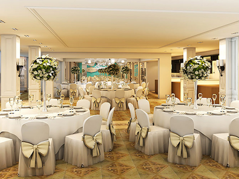 function room with banquet style for wedding party