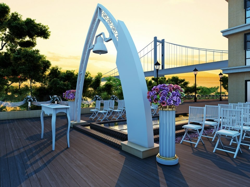 triangle wedding gate at the outdoor area of clubone waterfront