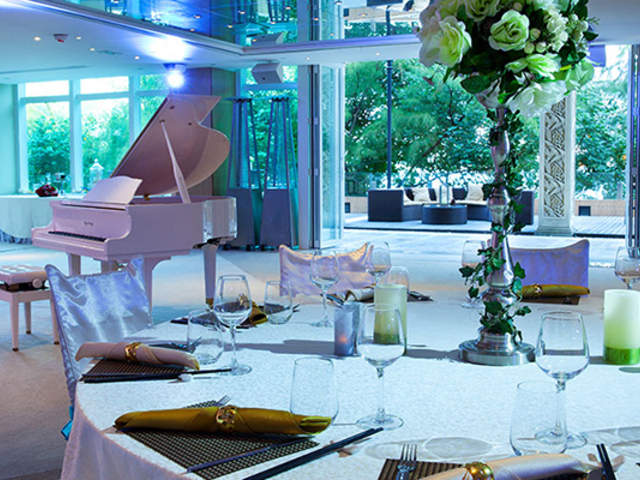 banquet style seating overlooked the white grand piano