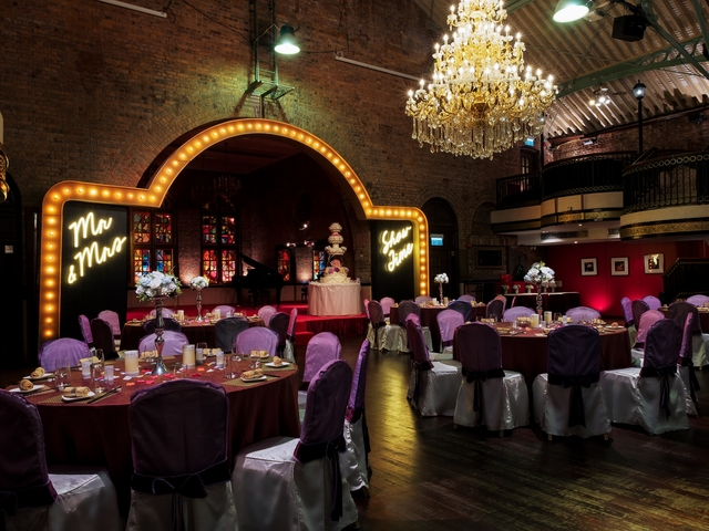 edwardian style of grand ballroom with gothic interior architecture