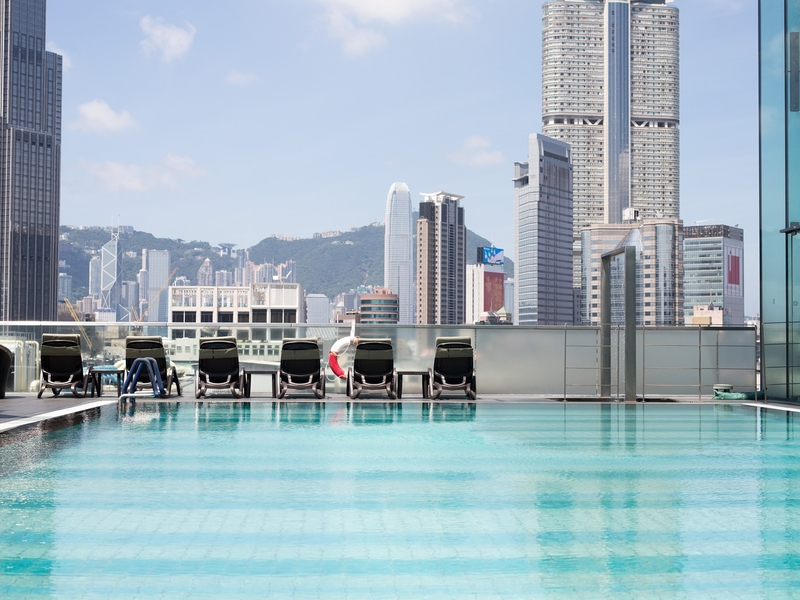 the heated swimming pool located at 9th floor of hotel icon