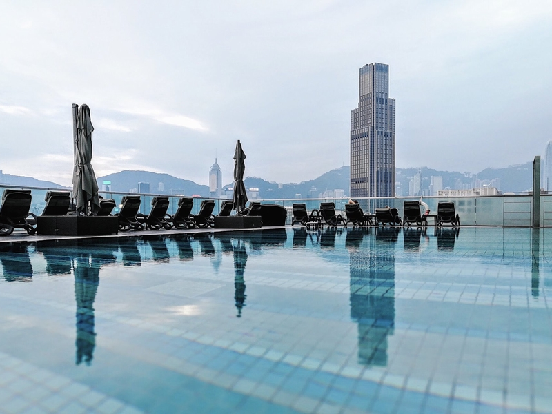 rooftop pool with panoramic views of victoria harbour hong kong
