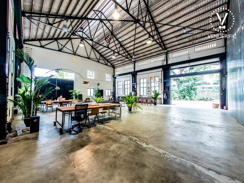 singapore large party space with black roof trusses and large windows