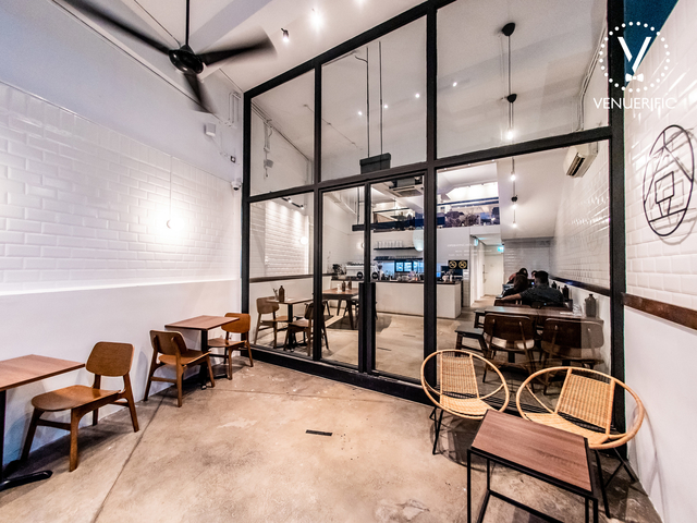 glass entrance and ceiling fan in singapore japanese cafe