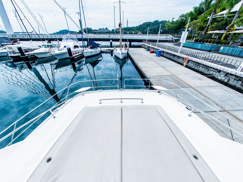 large front deck with grey matras in singapore yacht