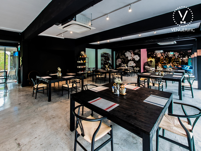 main restaurant area with cosy industrial vibe