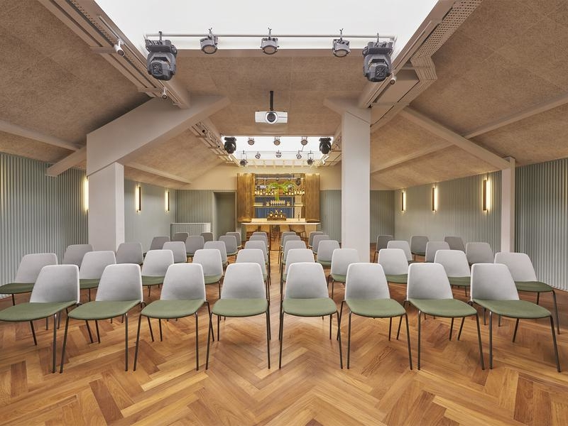 event space in singapore with vaulted ceiling and track lights