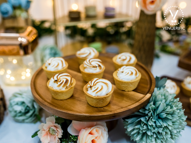 singapore corporate venue with buffet table and dessert selections