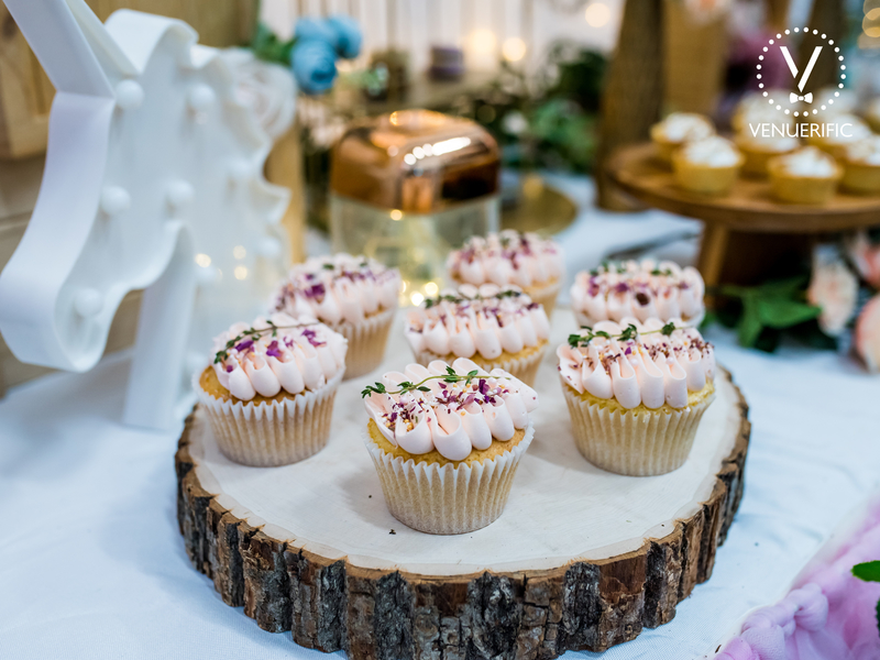 bachelorette party venue in singapore with cupcakes and unicorn decorations