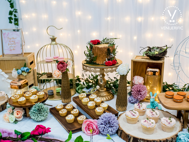 white venue for corporate event in singapore with dessert tables