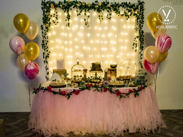 1st birthday venue in singapore with flowers and balloons decorations