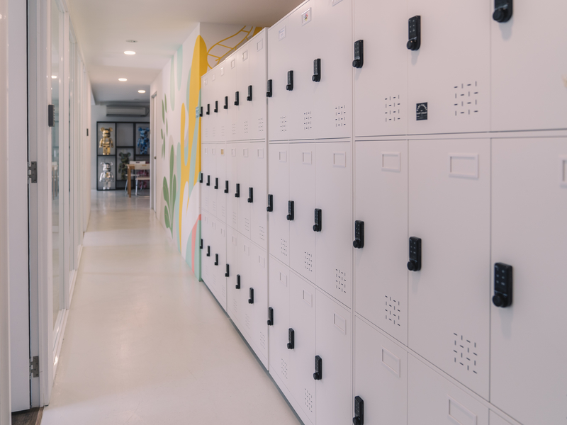 singapore coworking space with locker area