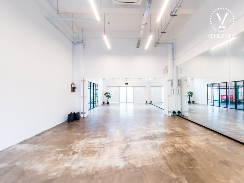 singapore dance studio with big mirror and white interior