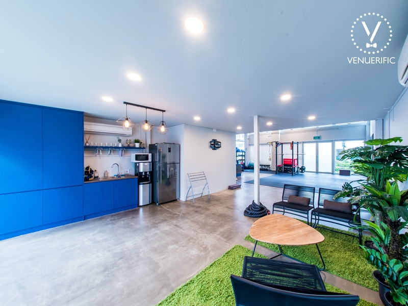 singapore coworking space with large pantry area and mini garden