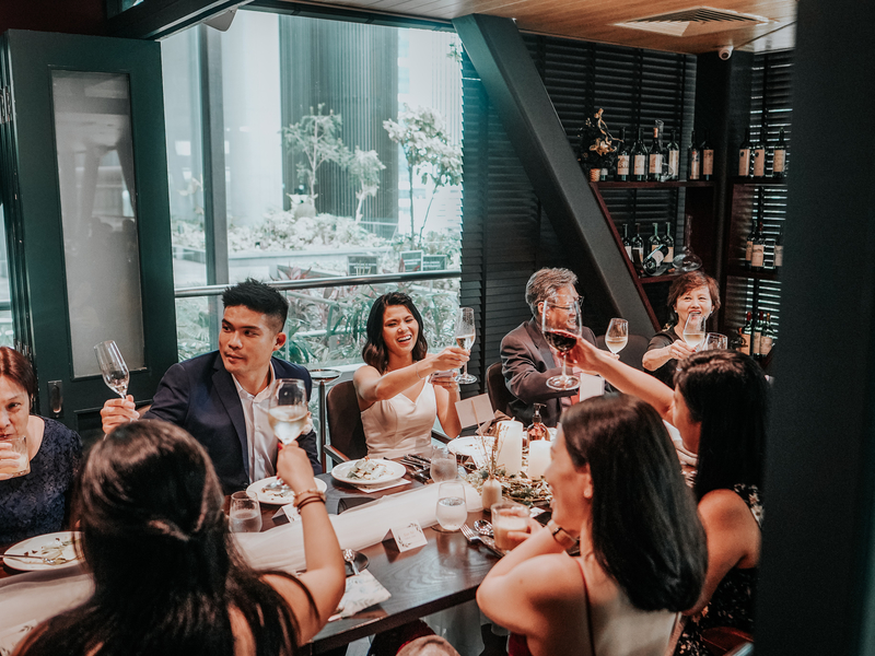 people attending family gathering event in singapore restaurant