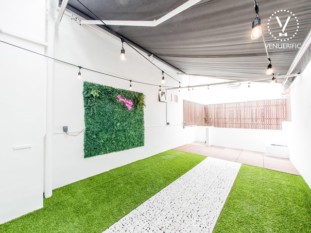 fairy lights and grass floor in singapore birthday space
