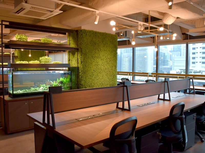 coworking space in singapore with table divider and large windows