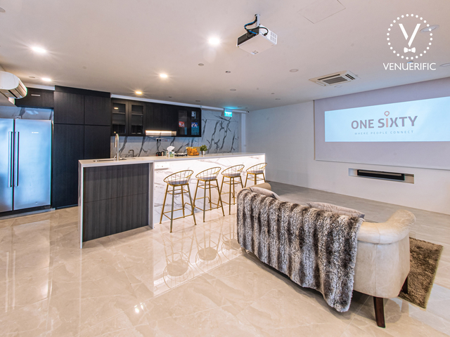 marble floors and mini bar in ubi singapore party space