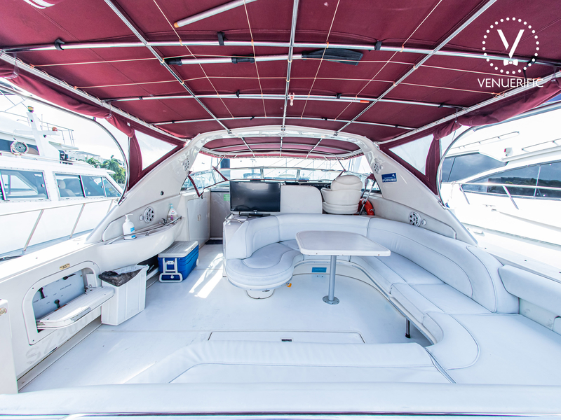 long white couches with red topper in singapore private yacht