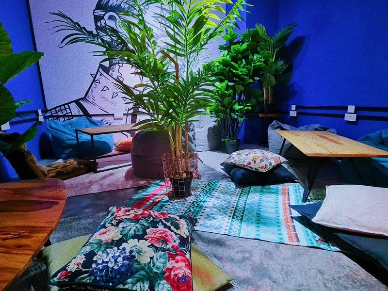 patterned carpet and plants in singapore party space