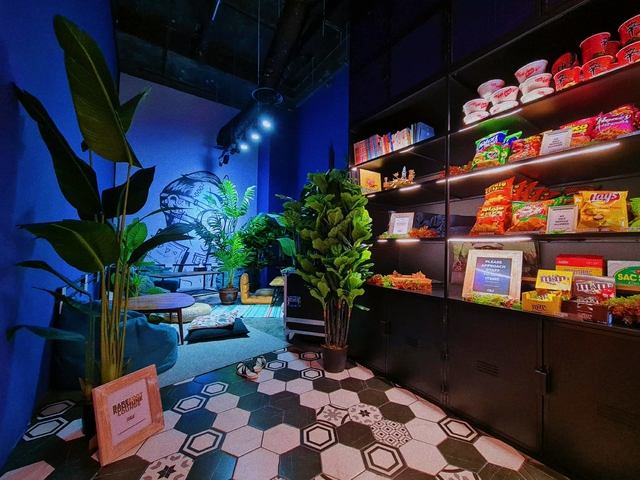 blue wall and snacks corner in singapore party space