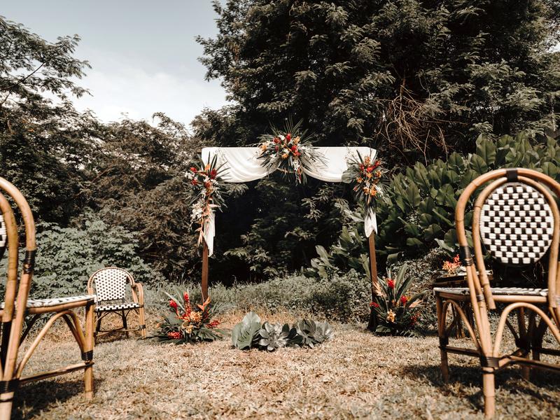 backyard area with solemnisation setup