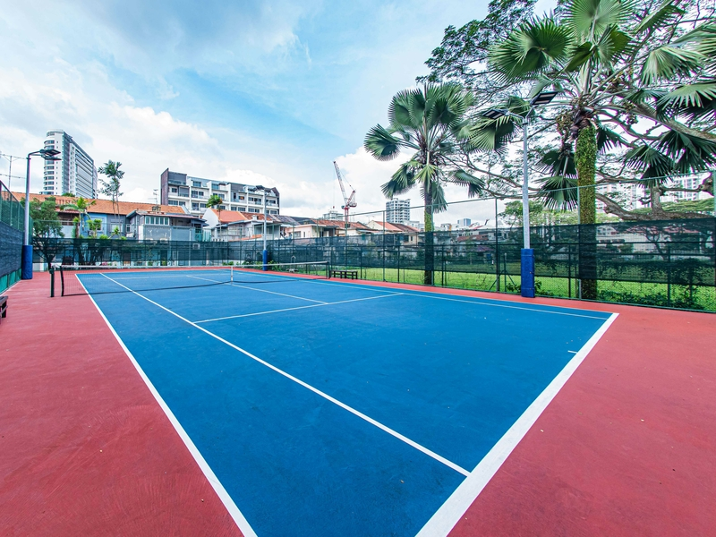 large team bonding venue in singapore with tennis court