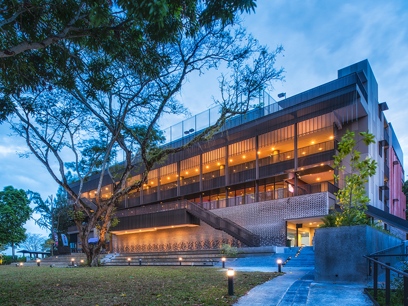 private venue in singapore with wooden interior and large garden area