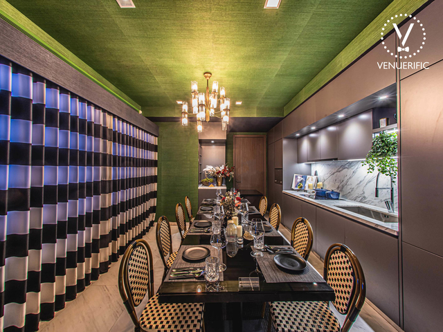 long dining room in singapore with green ceiling and mini pantry