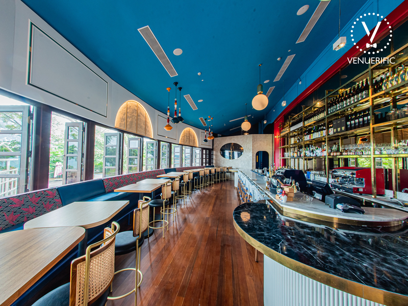 blue-red interior and long couches in singapore 40th birthday venue