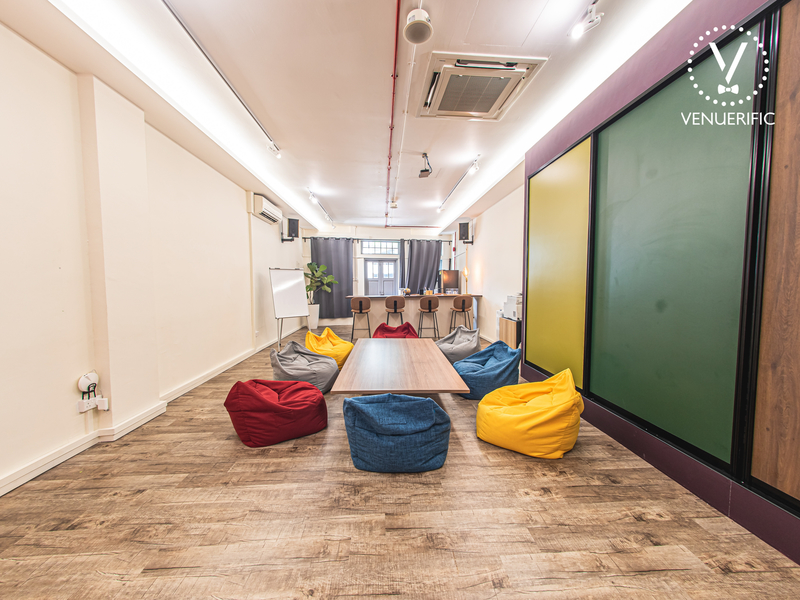 event space with customized layout and colourful beanbag