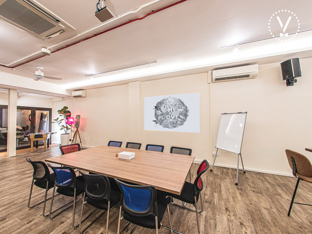 meeting room setup equipped with whiteboard and screen projector