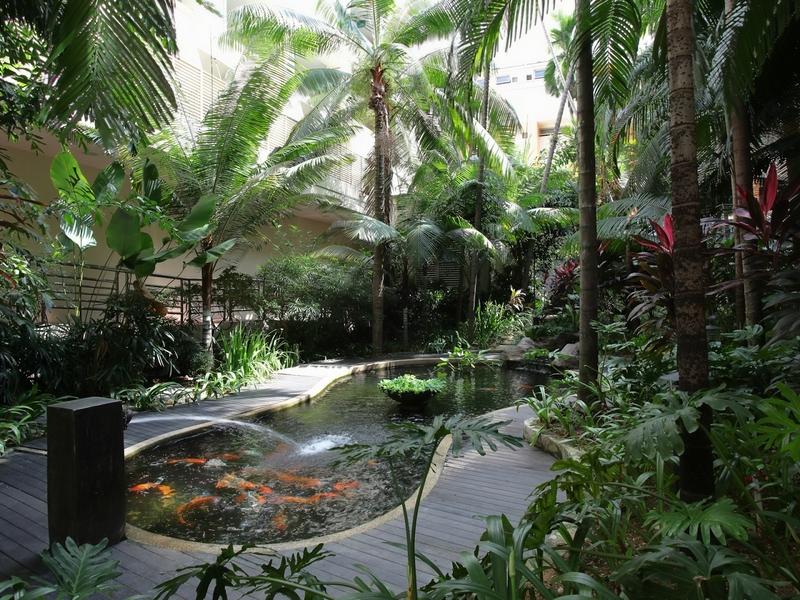 50th birthday event venue in singapore with garden area and fishpond