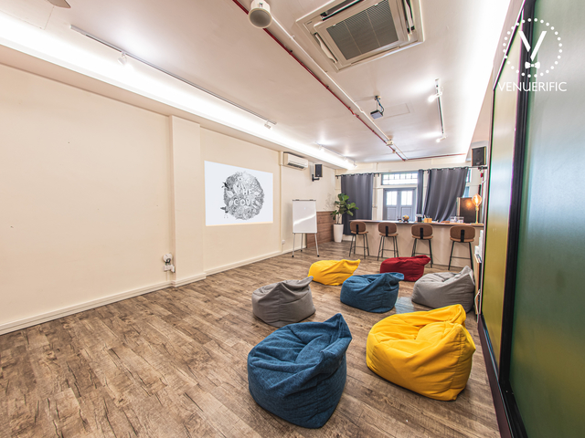 multipurpose venue provided with colourful beanbag