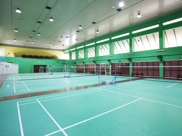 large sport event venue in singapore with badminton court
