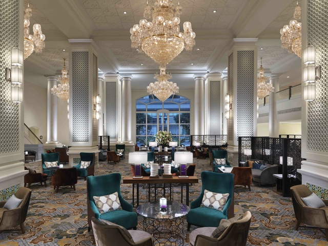 lobby lounge area with glamour interior