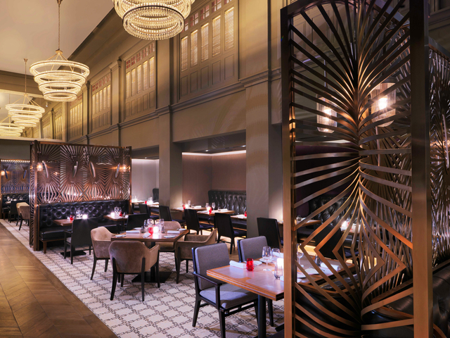 main restaurant area with chandelier