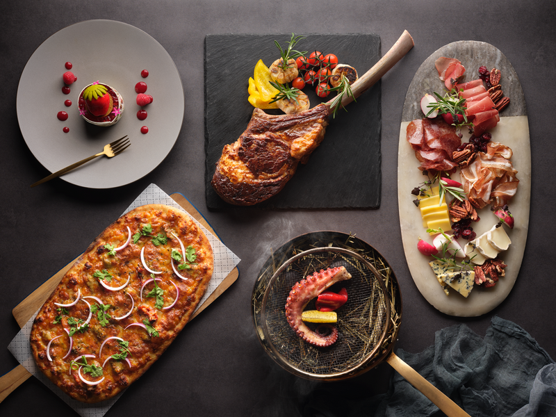 european cuisine on the table from appetizer to dessert
