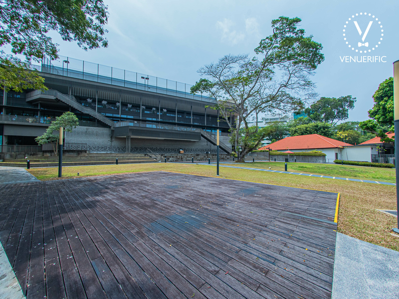 singapore outdoor venue with large garden area and wooden dance floors