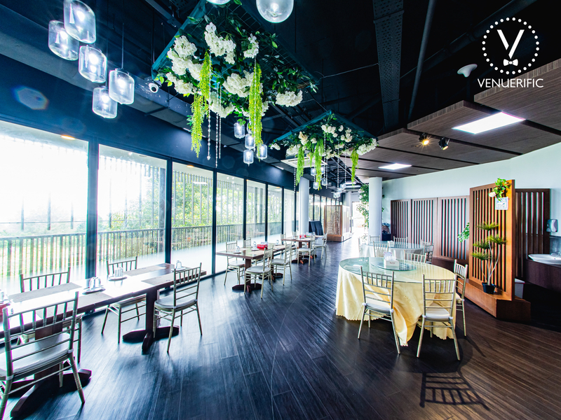 singapore small wedding venue with large glass and garden view