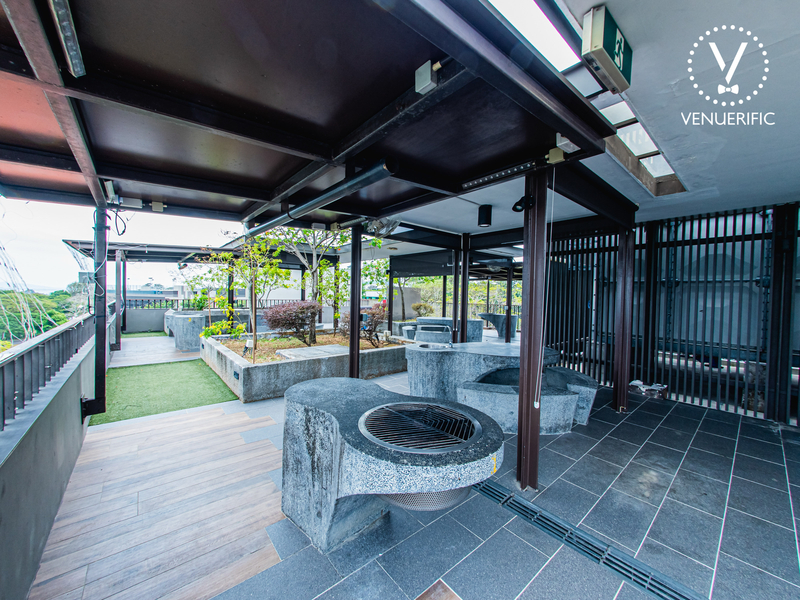 30th birthday party place in singapore with wooden and stone interior