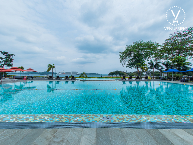 outdoor wedding venue in singapore with large pool area