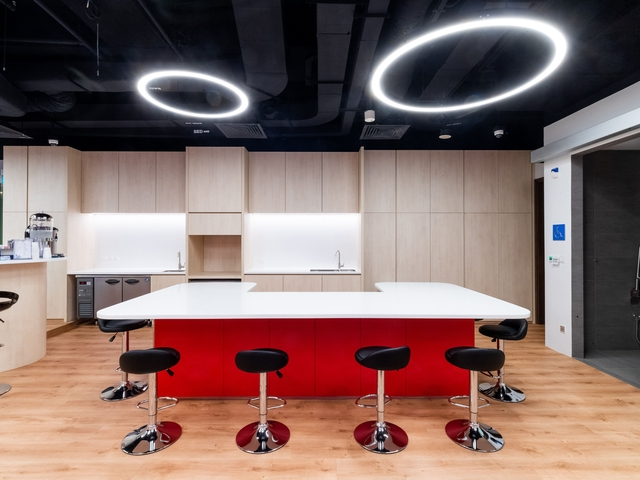 singapore private event space with mini kitchen and u-shaped bar table