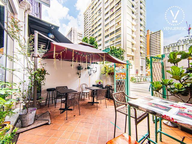 restaurant with outdoor area with the view of building
