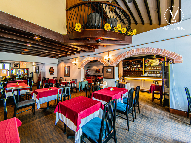 italian restaurant with high ceiling and soft incandescent lights