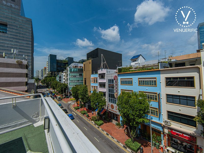 singapore clarke quay hotel with rooftop space and city view