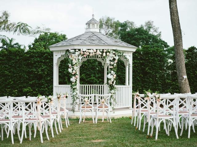 wedding solemnisation pavillion with white decoration