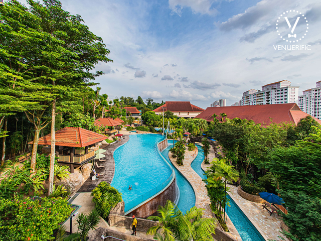 large outdoor event space in singapore with pool and garden area
