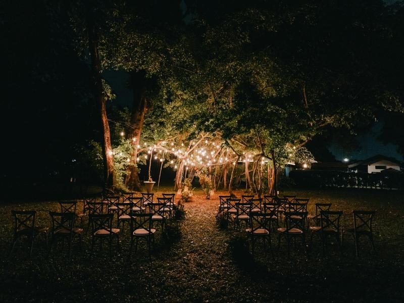 garden solemnisation party setup at night