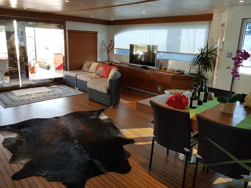 singapore yacht with large main deck area and big windows